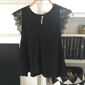 Free People Black Lace Flutter Sleeve Top